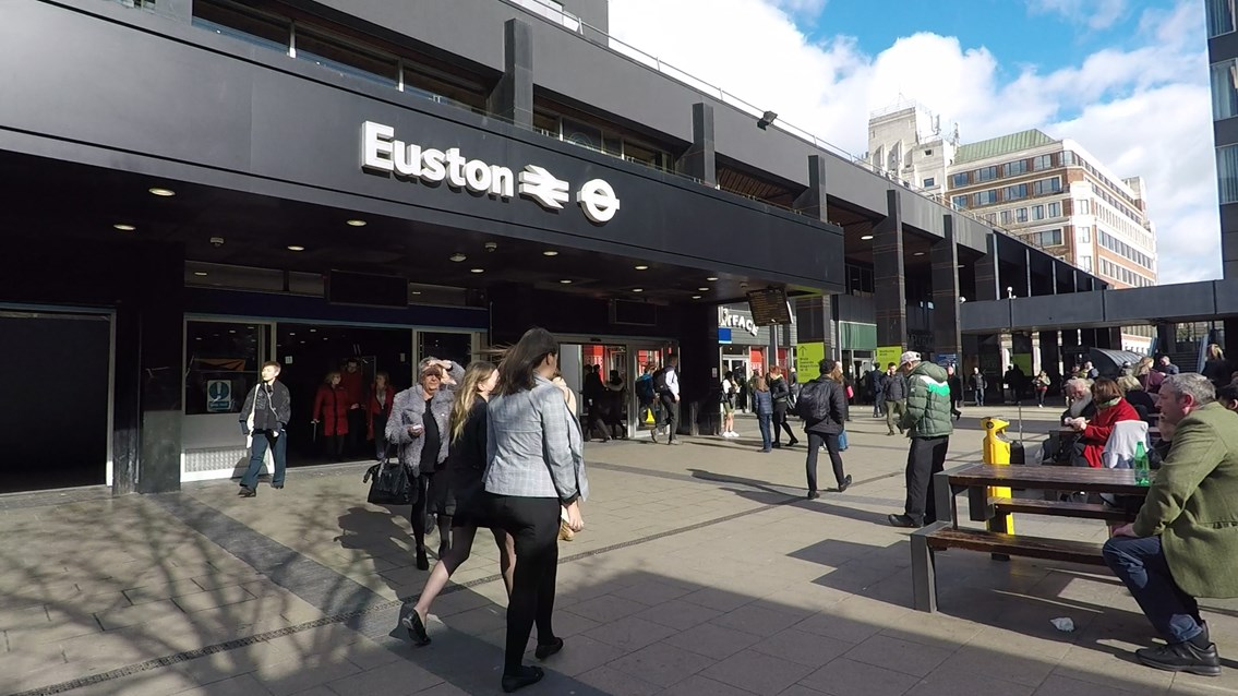 Passengers urged to travel either side of Easter holiday with major work planned on West Coast main line: Euston station exterior March 2019