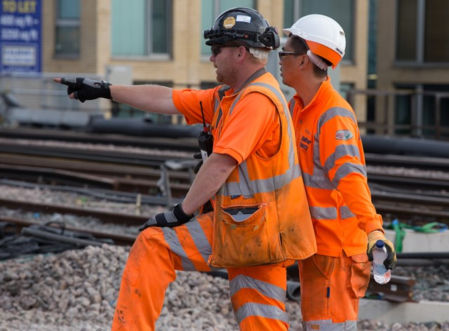 LBG - it's over there: Saturday on site at London Bridge  Two members of the Orange Army out on site
