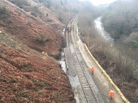 Network Rail engineers have removed over 150 tonnes of debris from the line between Porth and Treherbert