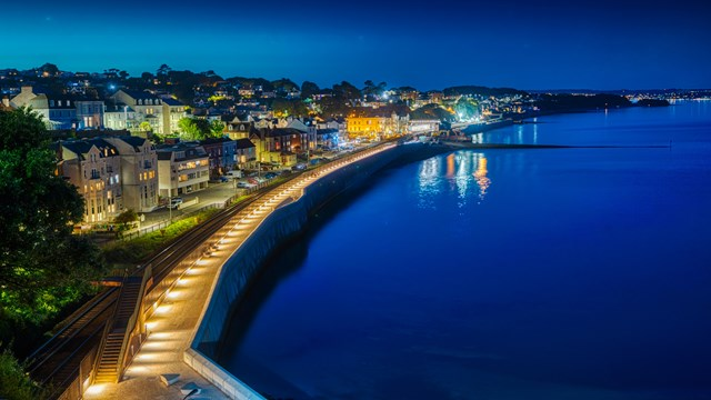 Completed first section of Dawlish sea wall at night