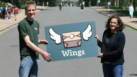 Wings founder Rich Mason and Cllr Asima Shaikh (R) launch new ethical food delivery service Wings