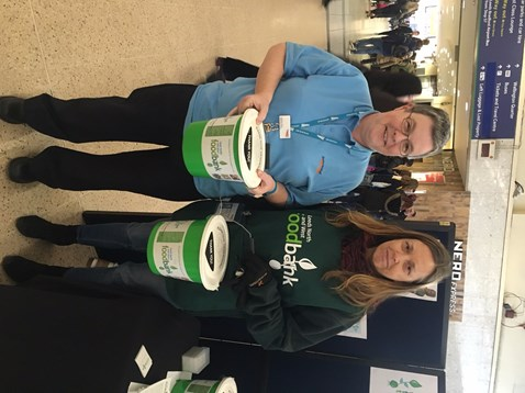 Debbie Ward, Leeds station support assistant and Karen Burgon, project director at Leeds North and West Foodbank