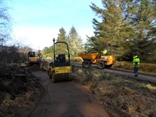 Loch Fleet NNR - Golspie Community Council's new all abilities footpath under construction by local firm Waverly Engineering (130318)