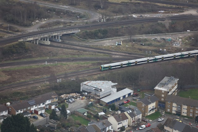 Croydon / Selhurst triangle: A Southern service passes through the Selhurst triangle, where routes from London Bridge and Victoria converge north of East Croydon station