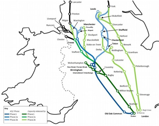 Released Capacity Map: Released capacity works by moving long-distance traffic from our current rail network onto HS2's new high-speed line, creating the extra room needed to improve local, regional and freight services.   When complete, HS2 will add greater capacity along the UK's current main North-South rail routes; West Coast, East Coast and Midland main lines.