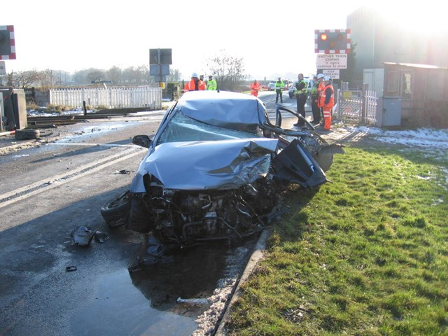 Motorist collides with train after driving through LX barrier - Knaption, North Yorks 2