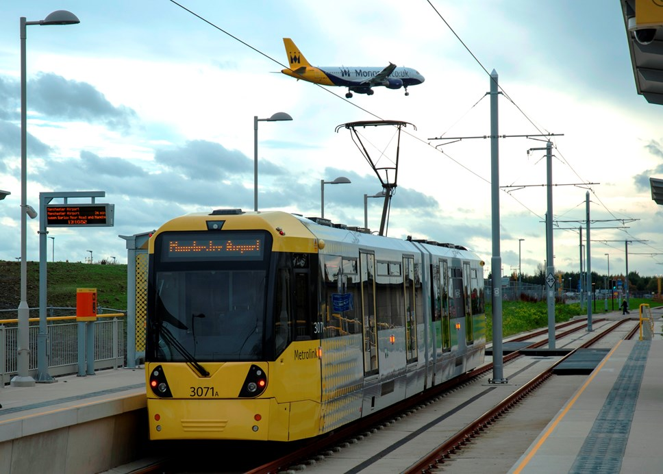 Tram on Manchester Airport Metrolink line