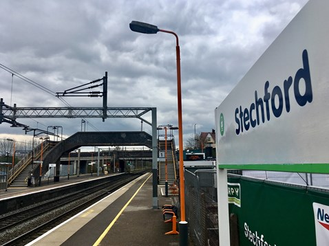 Stechford station 'Access for All' scheme with old bridge - April 2019