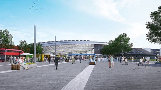 HS2 reveals Old Oak Common station design as west London super-hub work ramps up: 01462 29 Plaza View 2800