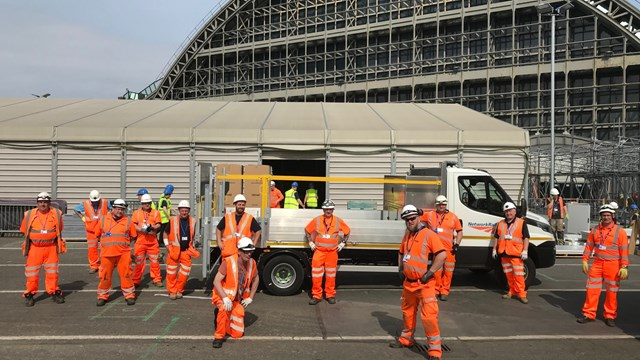 Railway staff provide logistics expertise for NHS Nightingale Hospital North West: Network Rail staff who helped with the delivery of NHS Nightingale North West