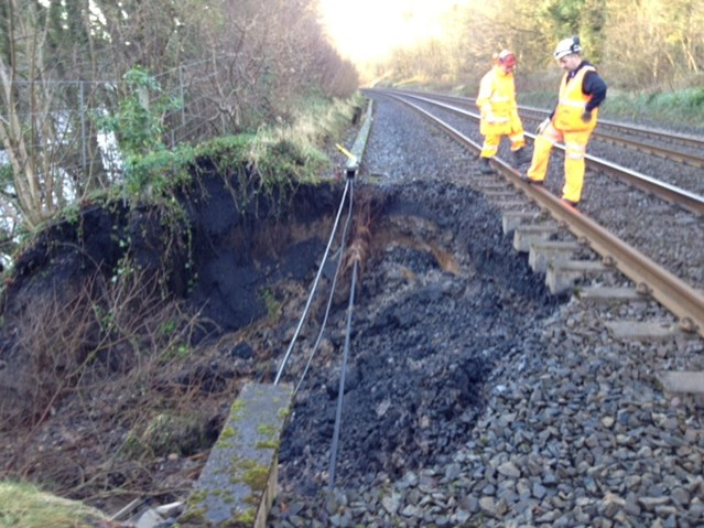Passengers advised to check before travelling as floods affect rail network in northern England: Goose Holme landslip