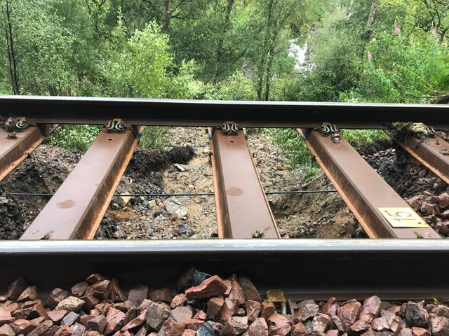 West Highland recovery works update: track washout near Crianlarich sleepers
