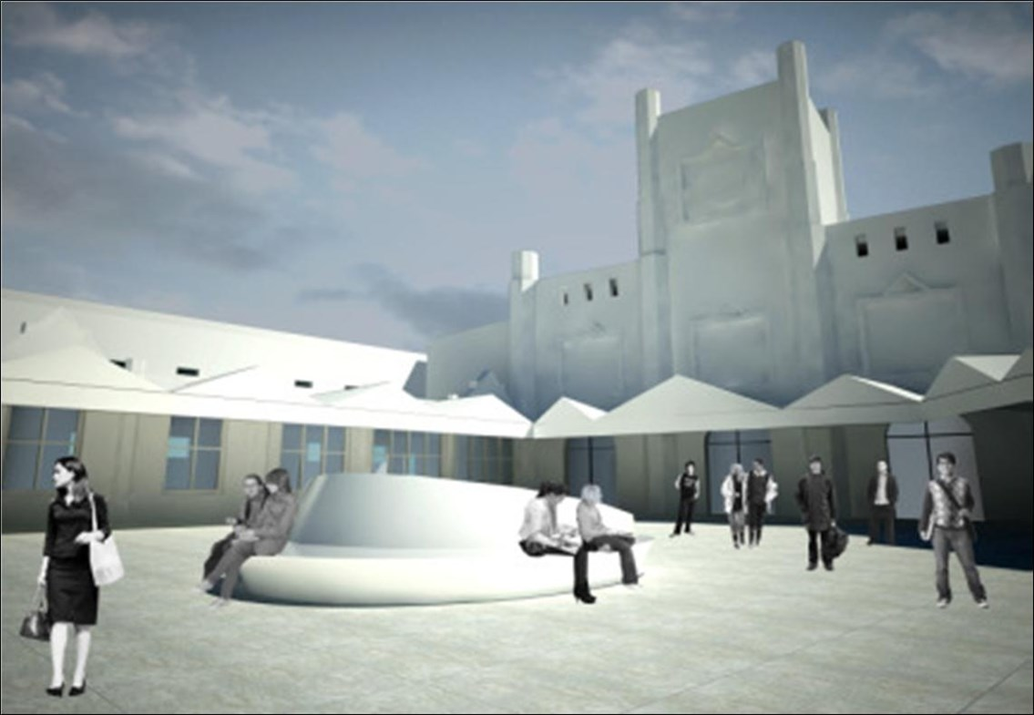 Artist's impression of proposed forecourt of Bristol Temple Meads: Proposal to redevelop Bristol Temple Meads