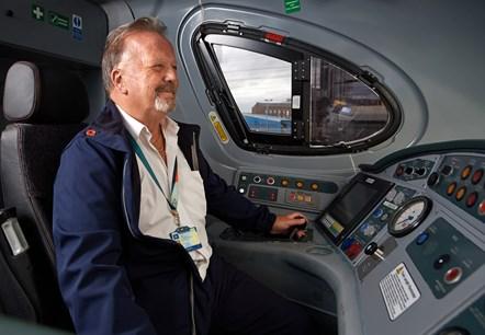 Avanti West Coast Steve Wilson 3: Steve Wilson (Train Driver, Avanti West Coast) in the driver's cab