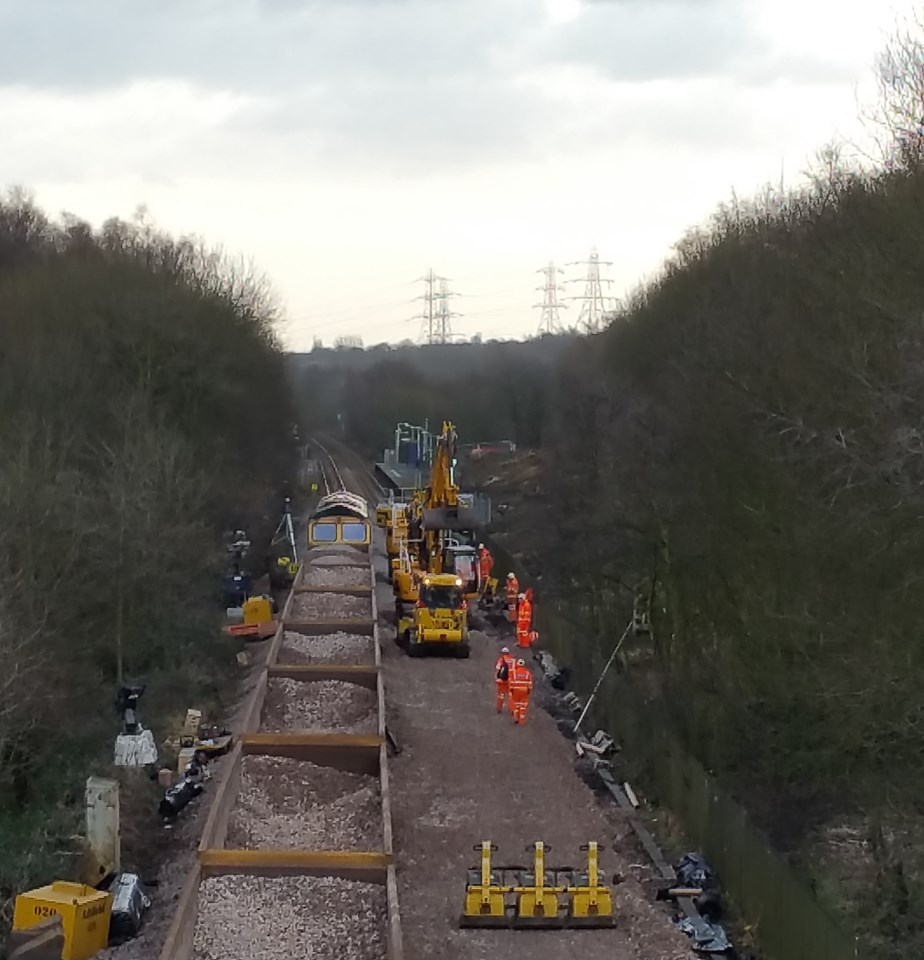 Track work at Farnworth Tunnel