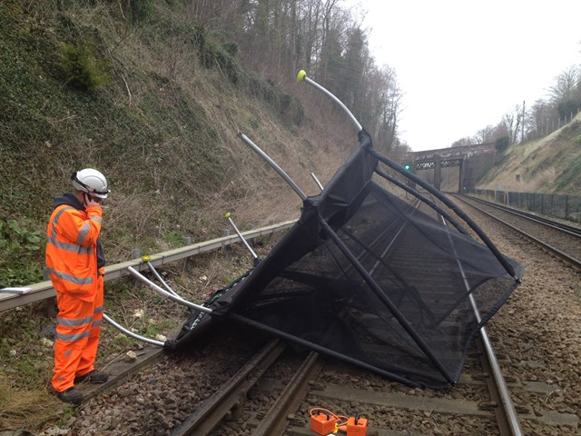 Storm Ciara: Rail passengers advised to check before they travel this weekend: Trampoline on track