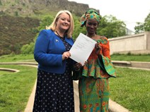 Equalities Minister Christina McKelvie and FGM survivor Neneh Bojang
