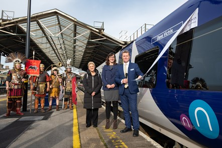 Chester 6: David Brown (Northern MD) is joined by Cllr Karen Shore (Deputy Leader of Cheshire West and Chester Council) and Mary Hewitt (Arriva's Strategy and Policy Director)  - as well as four Roman soldiers - at the launch of new trains for Chester.