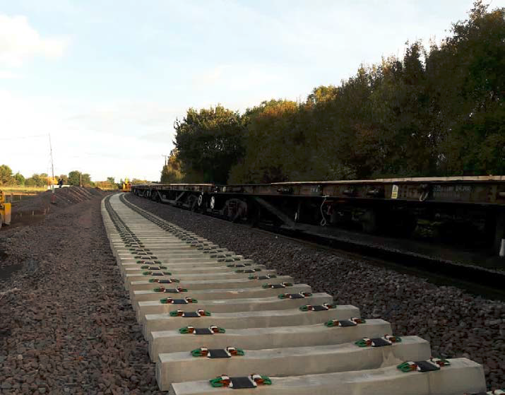 Extra track ready to be installed on the Felixstowe branch line as part of major upgrade: Felixstowe branch line sleeper installation October 2018