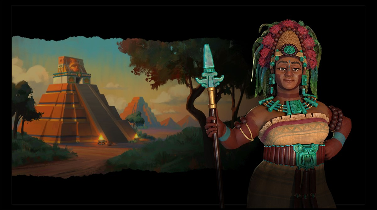 Civilization VI - New Frontier Pass - Maya & Gran Colombia Pack - Lady Six Sky Leader Art