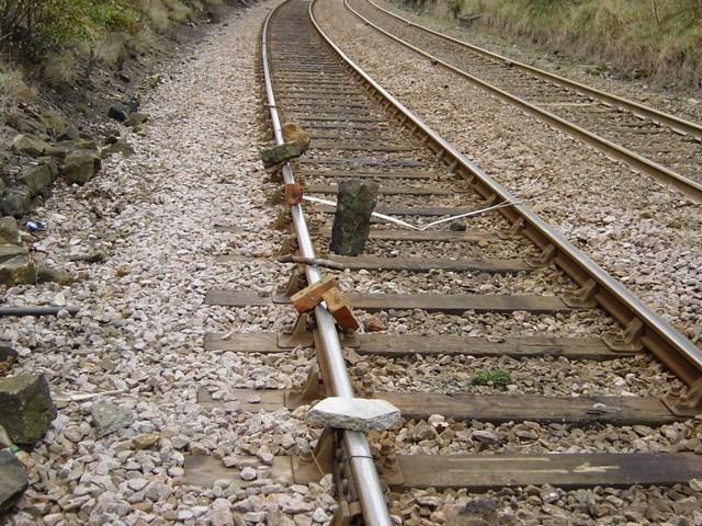 Debris placed on track at Briggs Quarry, Leeds