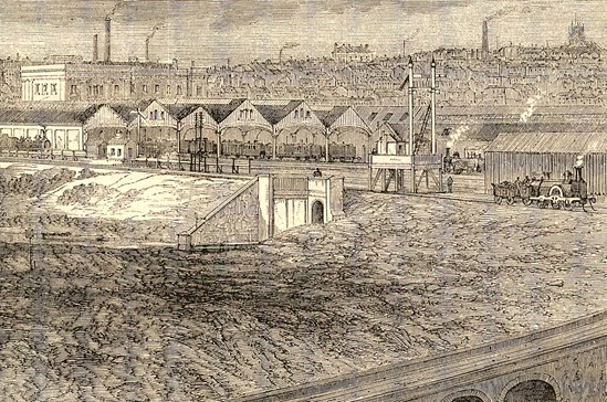Detail of Curzon Street Station from Illustrated London News (18 September 1865): Credit: Illustrated London News