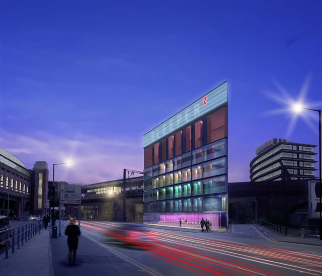 New hotel for Piccadilly station: Artist's impression of the new Sleeperz hotel being built on Network Rail land opposite Piccadilly station, Manchester.