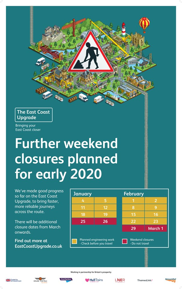 Dates announced for next major stages of East Coast Upgrade and passengers urged to plan ahead: Dates announced for next major stages of East Coast Upgrade and passengers urged to plan ahead (Southern)