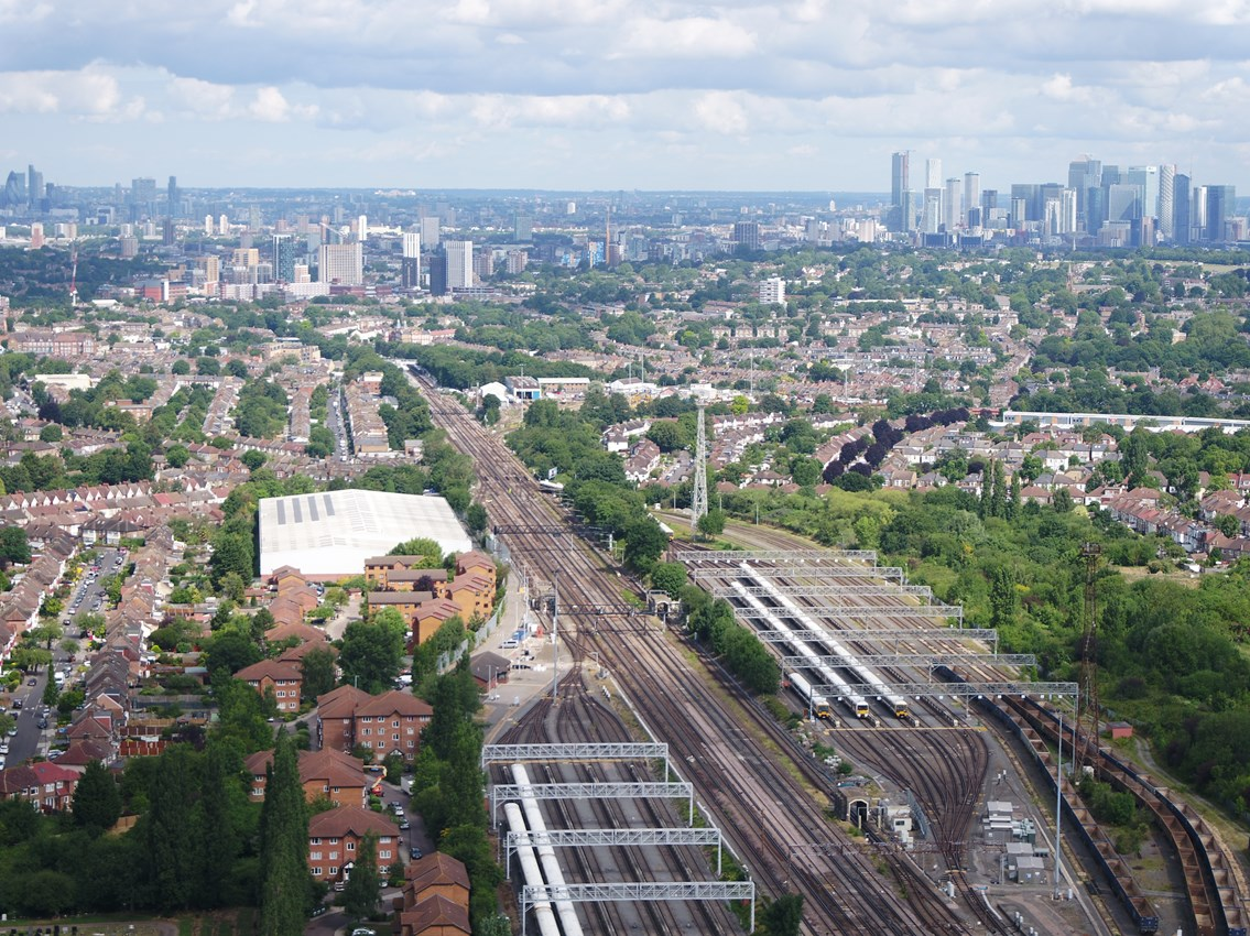 Network Rail invites £1bn private sector investment in telecoms infrastructure to upgrade rail network for passengers: Railway aerial view