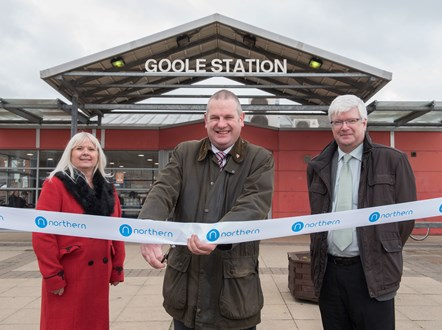 Northern held celebration event at Goole station: Pete Myers cuts ribbon at Goole