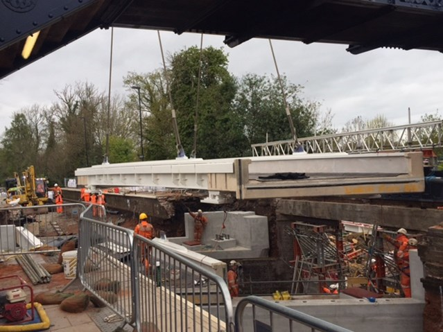 Railway reopens after successful Easter upgrades are completed on time: The new bridge deck being installed at Albrighton station