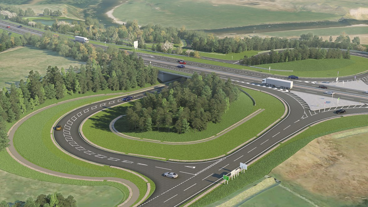 A9 dualling - Tomatin Junction CGI 190821