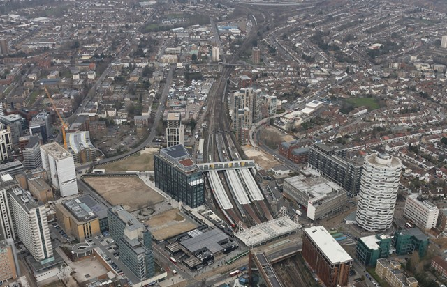 East Croydon station: The six platform station is among the busiest outside central London. The tracks to the north split into routes to Victoria (left) and London Bridge (right) creating what's known as the Selhurst triangle or Croydon bottleneck