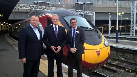 left to right. Phil Whittingham, MD of Virgin Trains; Geoff Inskip, chairman of the West Coast and Chilterns supervisory boards; Martin Frobisher, MD of London North Western.