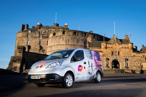 Mitie's first electric van outside Edinburgh Castle
