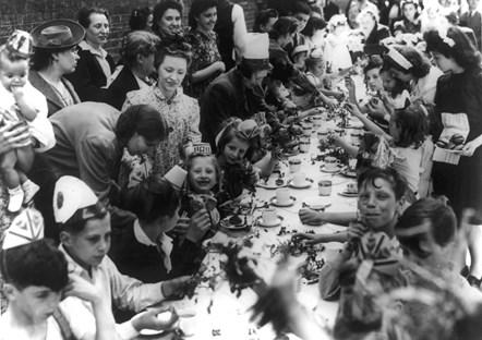 VE Day party Seward Street Finsbury May 1945