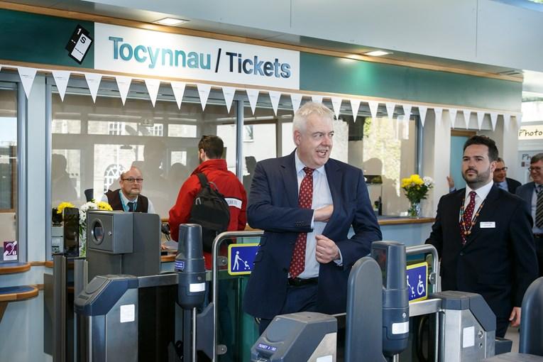 First Minister opens revamped Bridgend railway station: PO 140518 ATW BRIDGEND 16