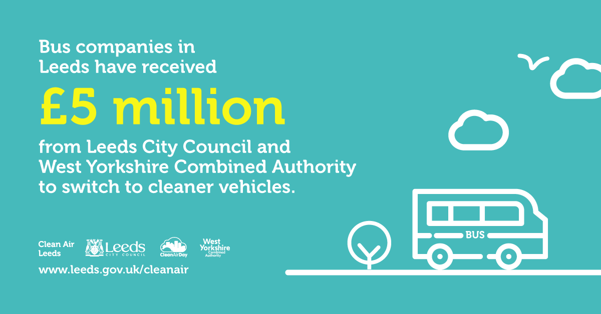 Bus companies in Leeds have received £5 million from Leeds City Council and West Yorkshire Combined Authority to switch to cleaner vehicles.