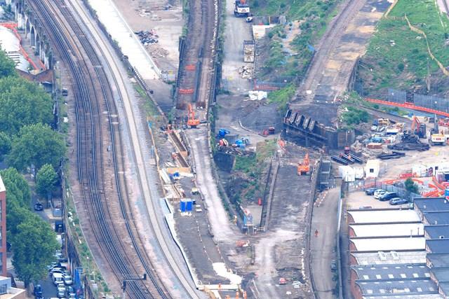 Bermondsey aerial: Demolition begins on the Bermondsey Dive Under