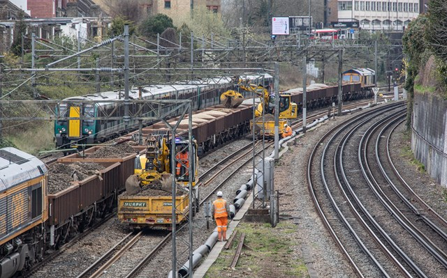 Engineering train removing old ballast at Willesden during March 2021 upgrade
