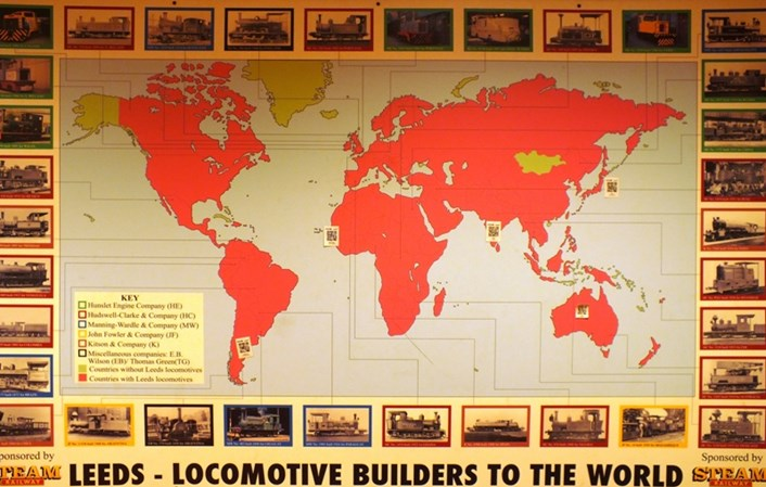 Leeds Industrial Museum: A map showing all the countries around the world where Leeds-made machines were used.