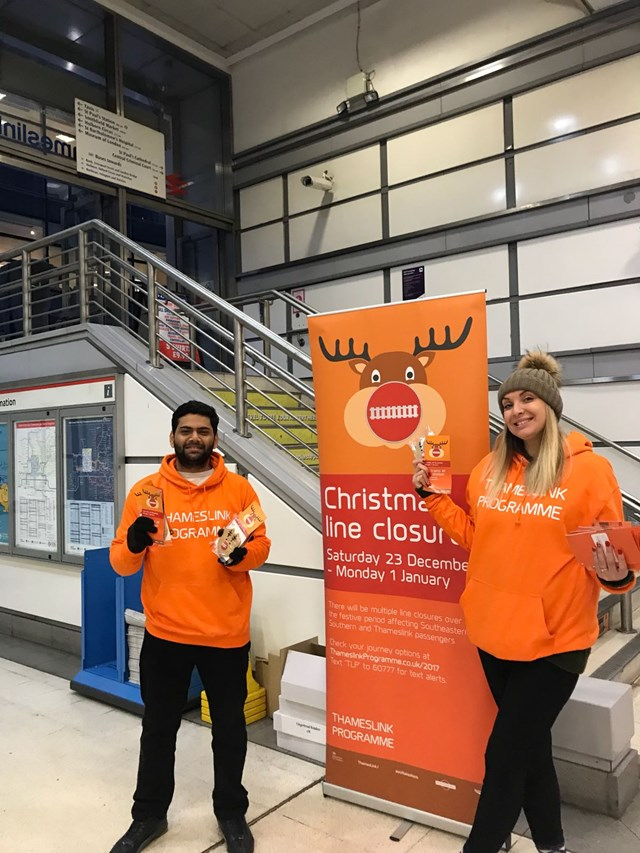 ReindeeratCityThameslink station: On 21 November, passengers at City Thameslink station received gingerbread reindeer to remind them of Christmas closures due to the Thameslink Programme.