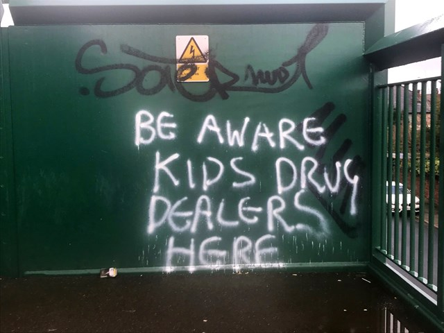 Mossley Hill footbridge graffiti damage-3