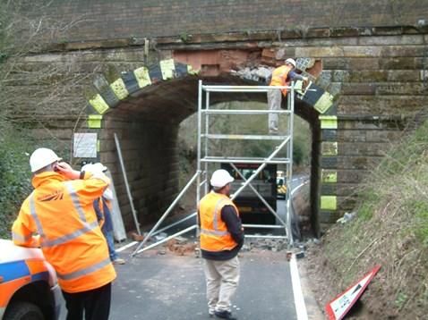 Network Rail engineers repair Vigo bridge following a bridge strike
