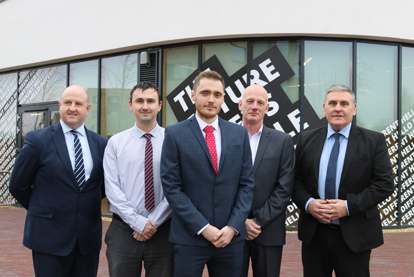 Mitie signs MOU with University of Northampton, L-R - Steve Shackell, Chris Fearnley, Harry Fry, John Fox, and Ian Carter