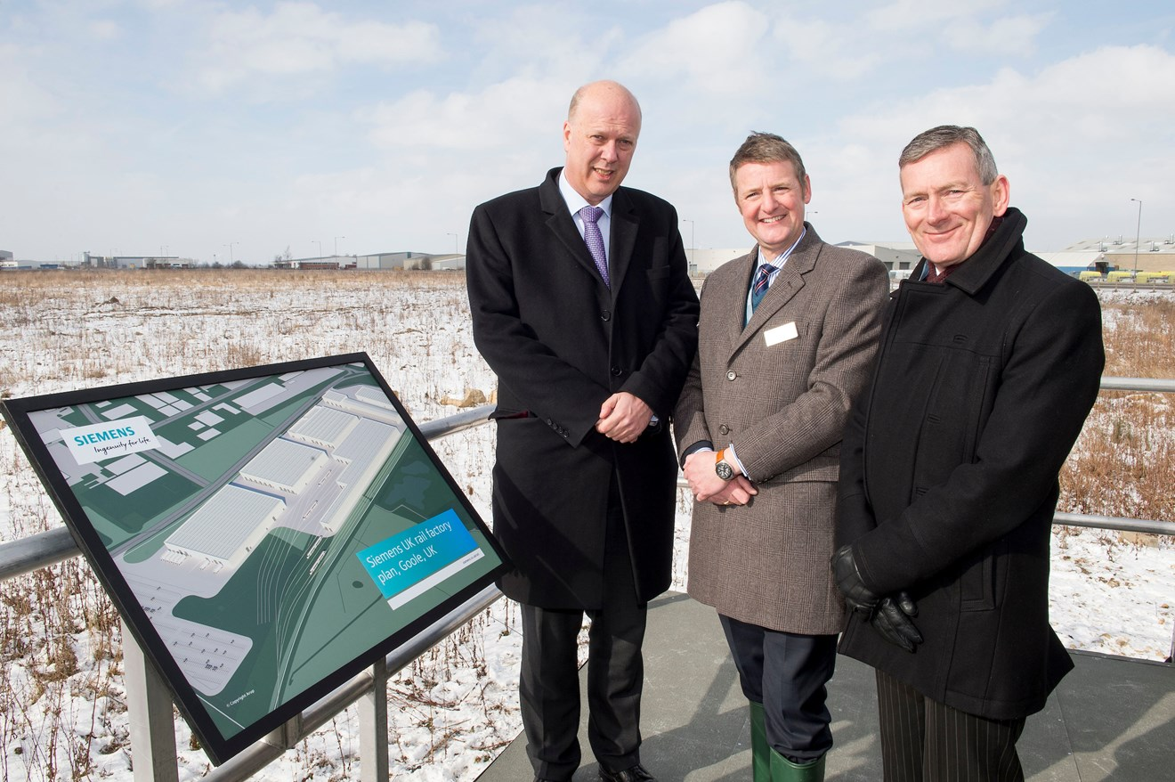 Siemens plans new rail factory in Goole 5: Transport Secretary Chris Grayling with Gordon Wakeford, Siemens' Managing Director, UK Mobility Division and Vernon Barker, Managing Director, Siemens' UK Rolling Stock Business Unit.