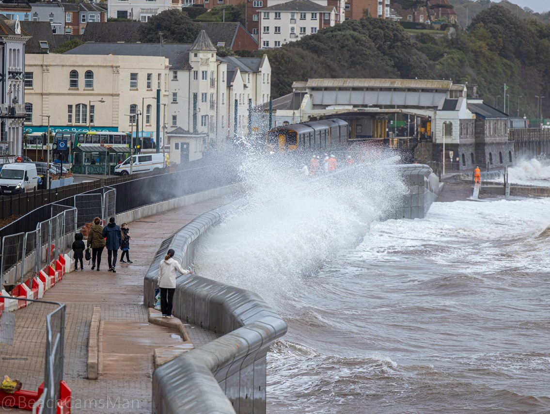 The completed first section of new sea wall effectively deflecting waves back out to sea