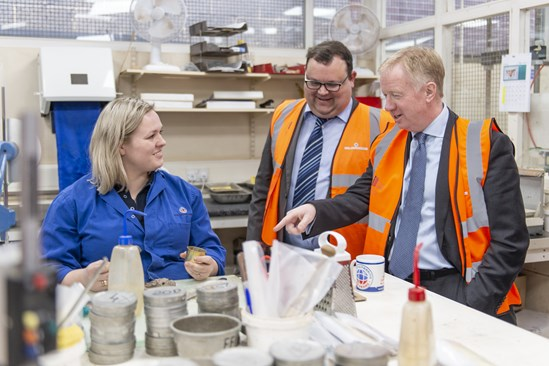 HS2 CEO Mark Thurston visits Soil Engineering in Leeds, guided by MD Tristan Llewellyn, to see the work they undertake to survey the rail route