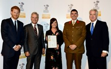 Employer Recognition Scheme Gold Award presentation Oct 17: Pictured (from l-r) HRH Prince Harry, Mark Carne, Leanne Wood, Defence Engagement Manager; Darin Gray, Principal Conformance Engineer at Network Rail and he is the Corps Colonel for the Royal Engineers in the Reserve Forces, The Rt Hon Sir Michael Fallon MP