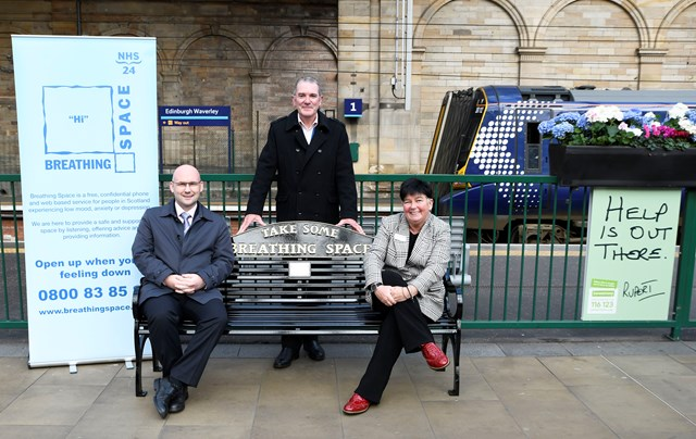 Edinburgh Waverley welcomes a Breathing Space on World Mental Health Day: Waverley Breathing Space bench - Scott Dryden, left, Tony McLaren, centre, and Juliet Donnachie.